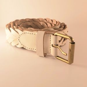 J Crew braided leather natural off white belt